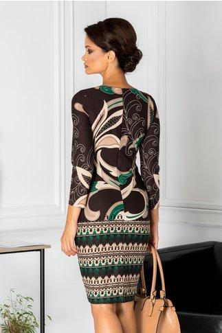 Rochie Cassie conica maro cu imprimeu crem cu verde