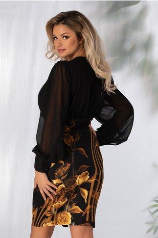 Rochie Cassie neagra cu imprimeu floral galben mustar