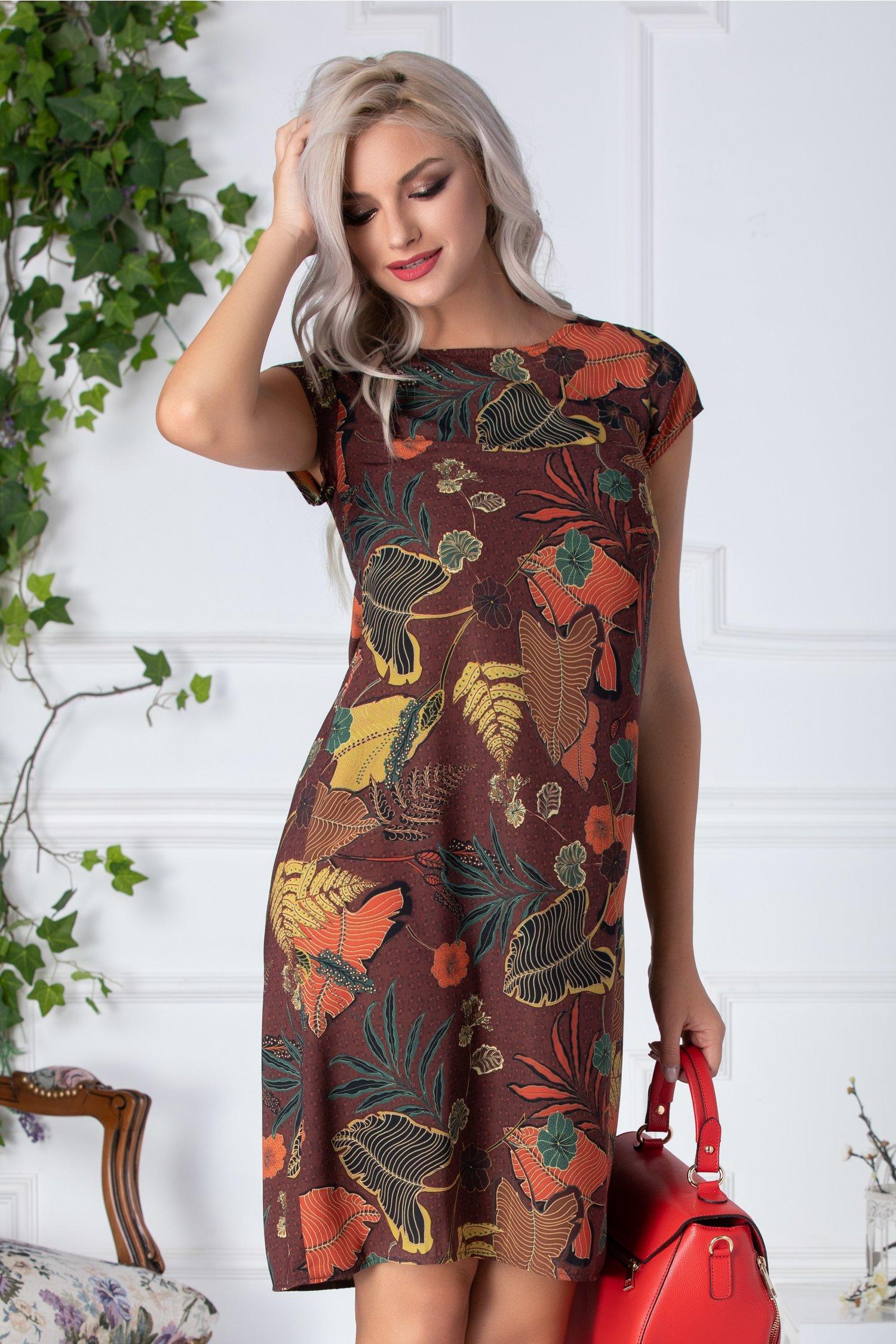 Rochie Cassie tip A caramiziu cu print exotic
