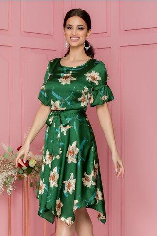 Rochie Cassie verde clos cu imprimeuri florale bej