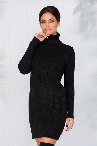 Rochie casual neagra cu textura raiata si guler inalt