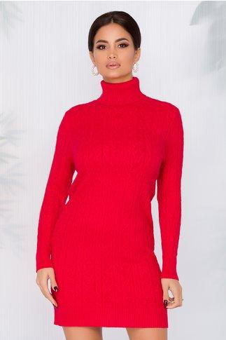 Rochie casual rosie cu textura raiata si guler inalt
