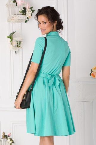 Rochie casual verde mint cu cordon in talie