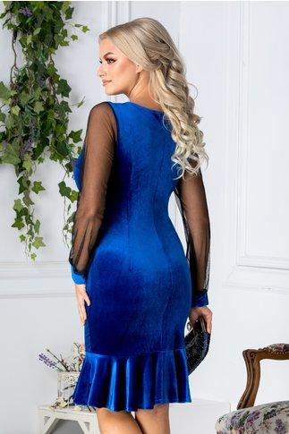 Rochie Cate albastra din catifea cu guler auriu
