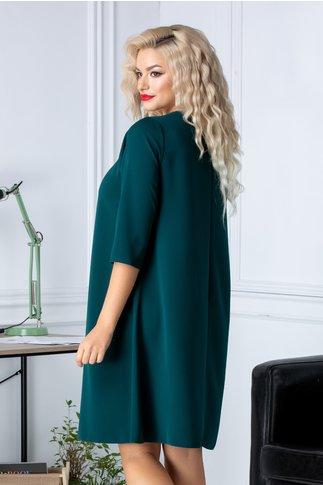 Rochie Cati verde lejera cu maneci trei sferturi