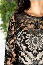 Rochie Catina negru cu bej lunga din dantela brodata