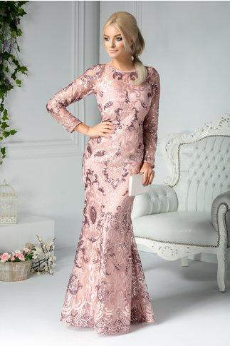 Rochie Catina rose lunga din dantela brodata