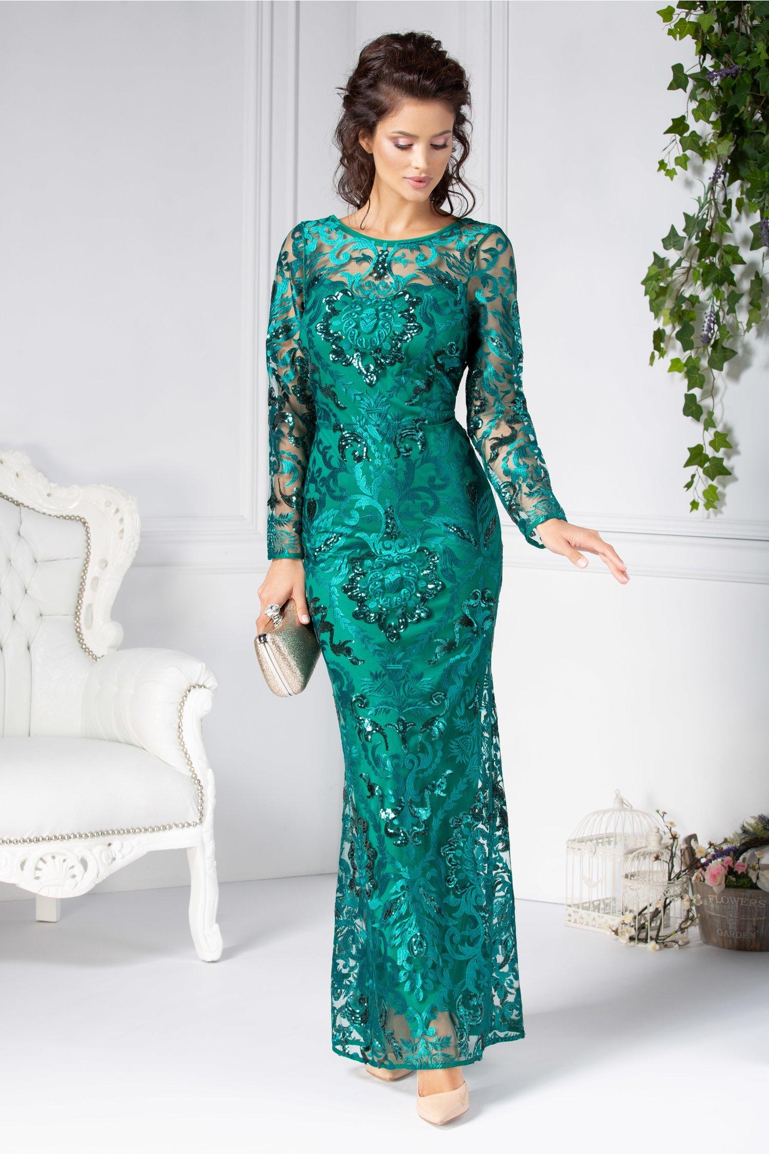 Rochie Catina verde lunga din dantela brodata
