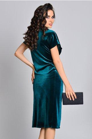 Rochie Catrinel verde din catifea de seara