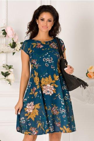 Rochie Cecilia albastra casual cu imprimeuri florale galbena