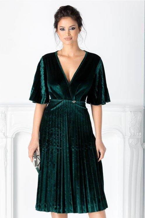 Rochie Celeste verde din catifea plisata