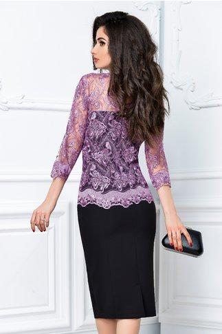Rochie Celia de ocazie negru cu lila eleganta