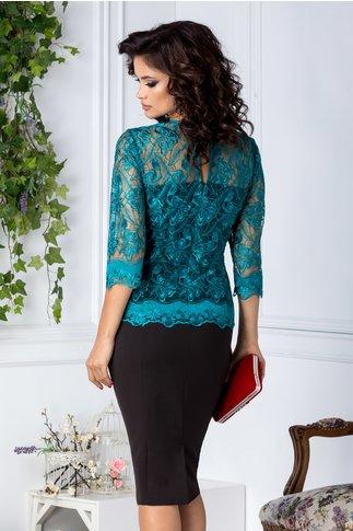 Rochie Celia de ocazie negru cu verde eleganta