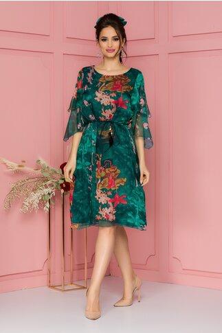 Rochie Celia verde cu imprimeuri roz si volanase la maneci