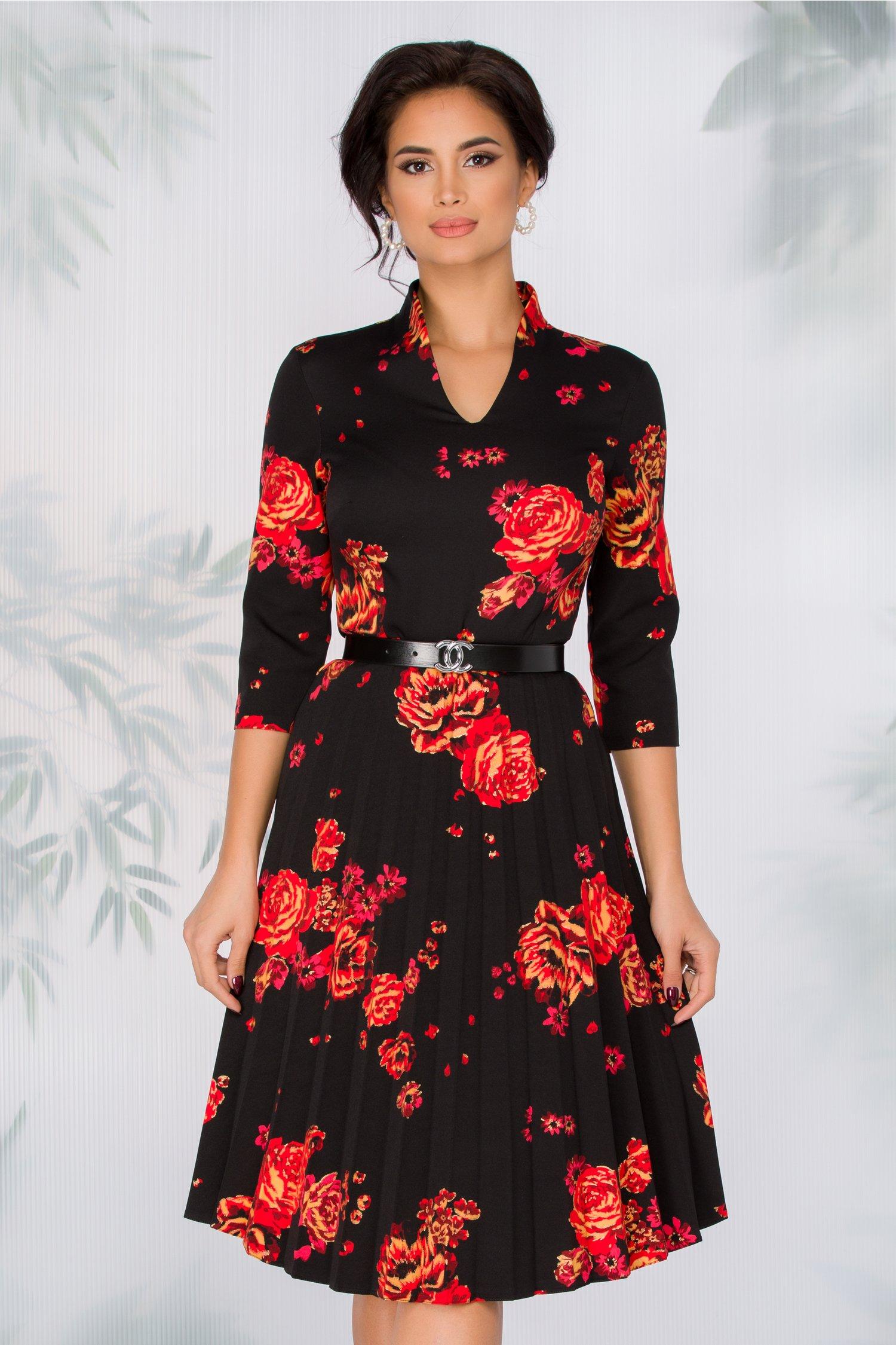 Rochie Celinda neagra cu imprimeu floral rosu