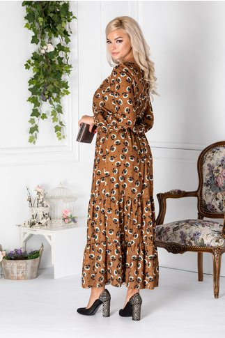 Rochie Celine lunga maro cu imprimeu floral