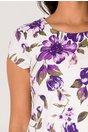 Rochie Celly alba cu imprimeu floral mov