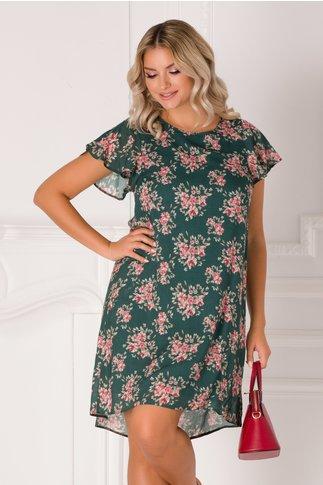 Rochie Celly casual verde cu imprimeu floral