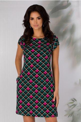 Rochie Celly neagra cu imprimeu geometric colorat
