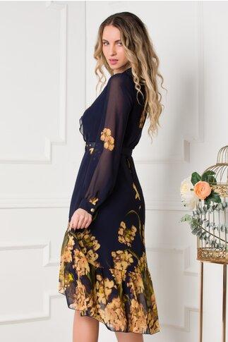 Rochie Cerasela bleumarin cu flori maro