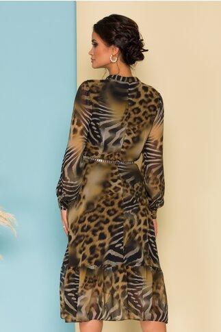 Rochie Cerasela cu animal print in nuante de kaki
