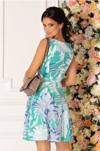 Rochie Cerasela verde cu imprimeu exotic