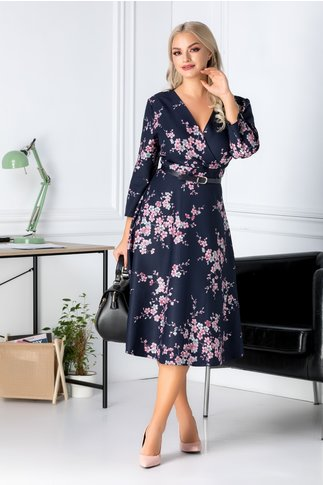 Rochie Cezara bleumarin cu floricele roz