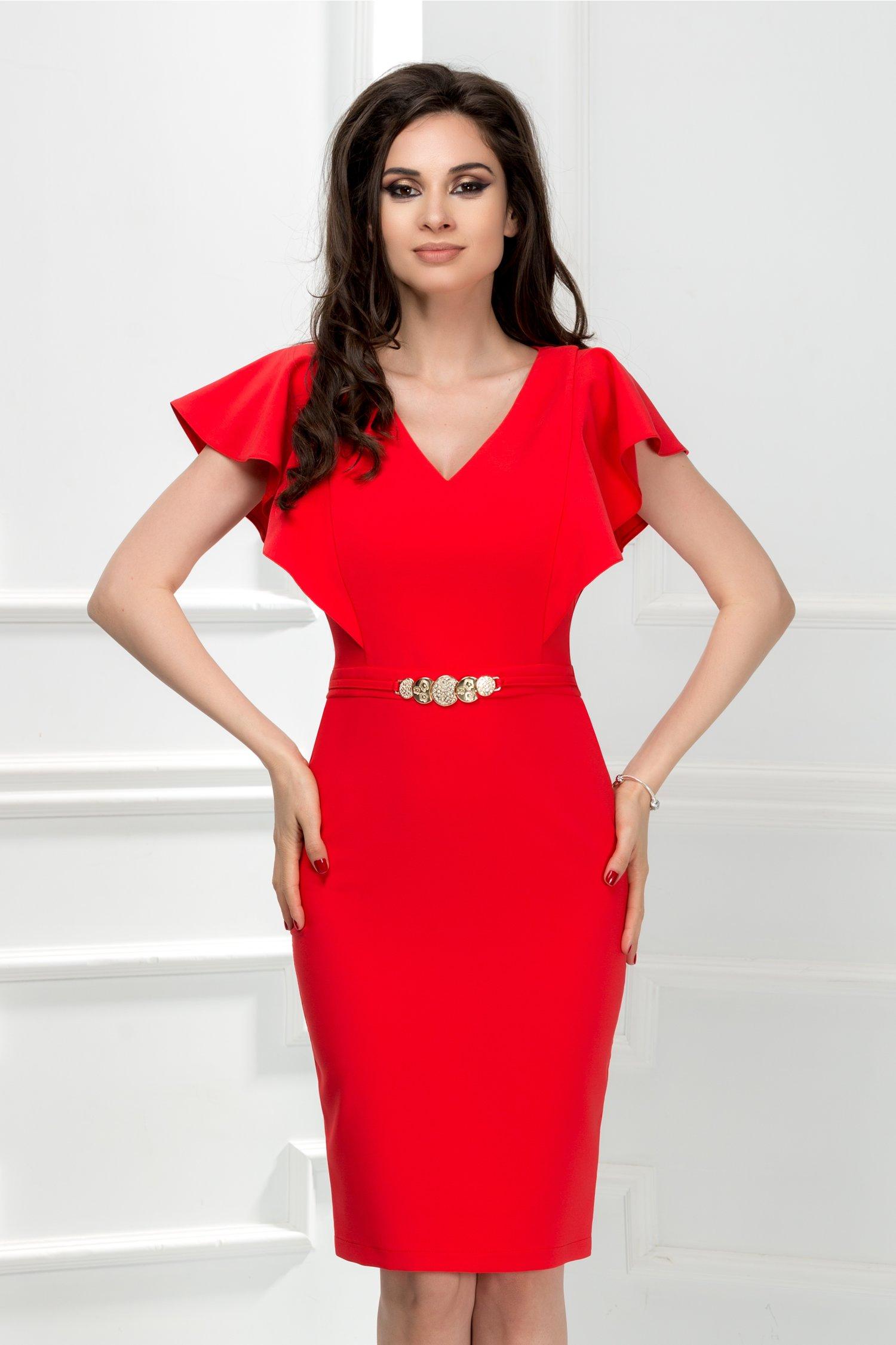 Rochie Cezara rosu corai midi cu detaliu talie