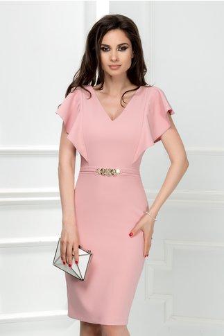 Rochie Cezara roz pudrat midi cu detaliu talie