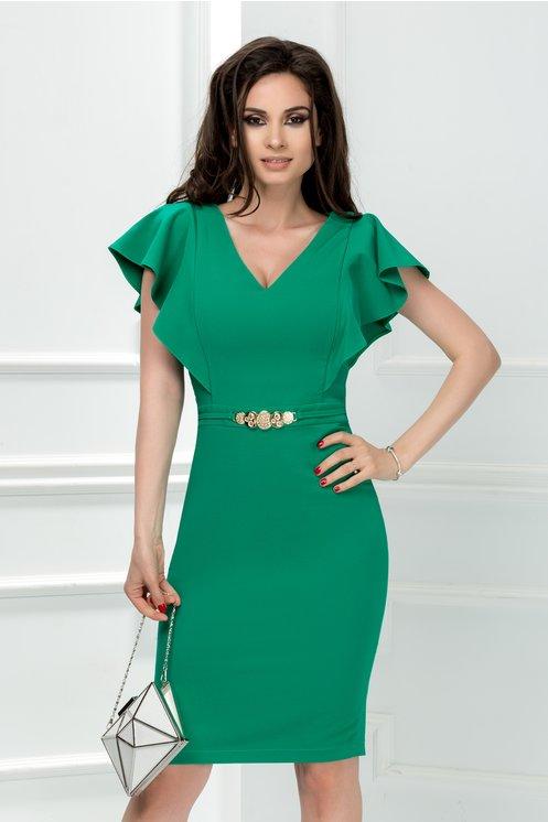 Rochie Cezara verde midi cu detaliu talie