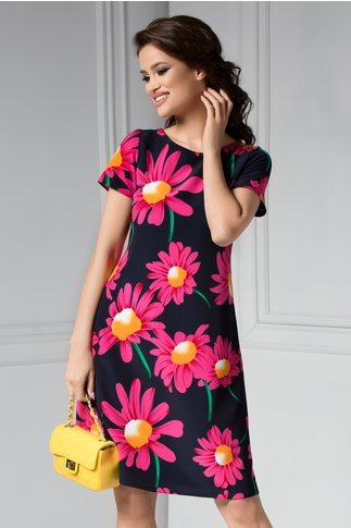 Rochie Cezare bleumarin cu imprimeuri florale fucsia