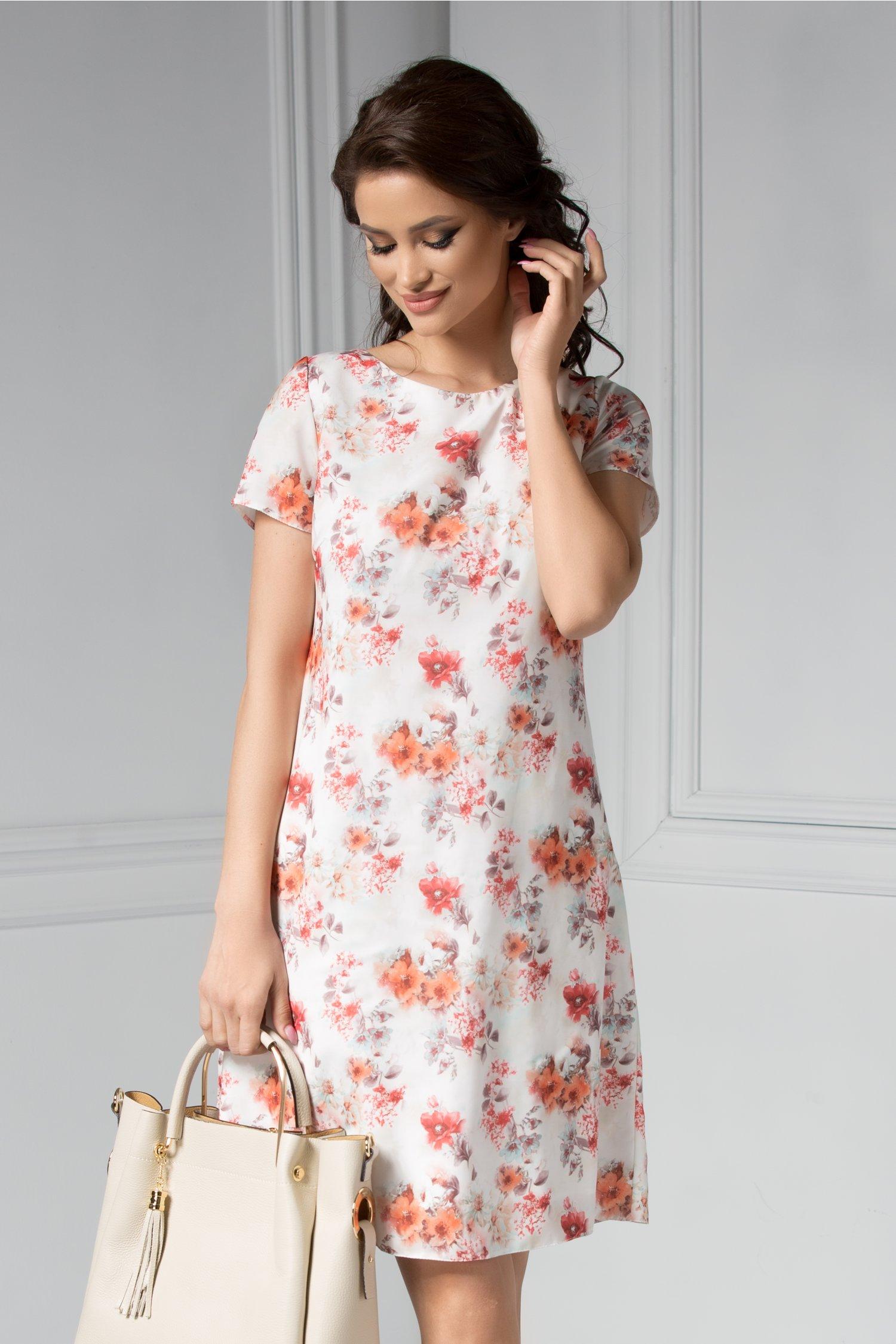 Rochie Cezare ivoar cu imprimeuri florale oranj