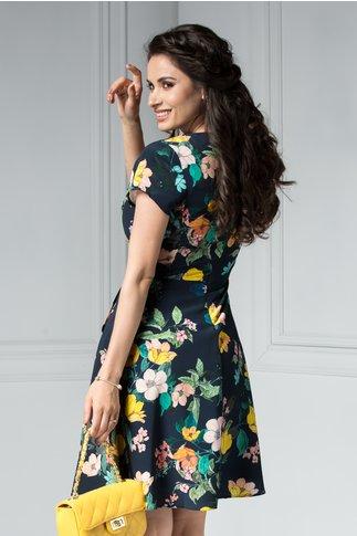 Rochie Charmaine bluemarin cu imprimeu floral colorat