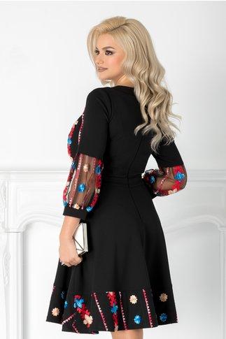 Rochie Cher neagra cu broderie eleganta