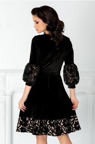 Rochie Cher neagra din catifea cu broderie florala