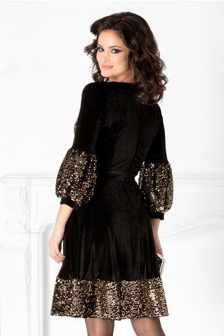 Rochie Cher neagra din catifea cu paiete aurii