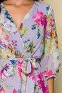 Rochie Chery mov cu decolteu in V si imprimeu floral
