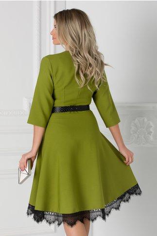 Rochie Chesty verde lime cu dantela la baza