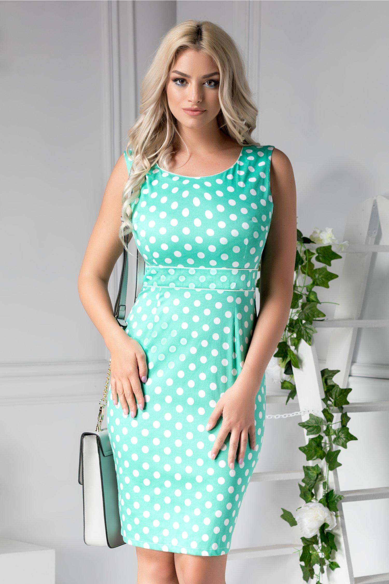 Rochie Chiara verde cu buline albe mari de zi