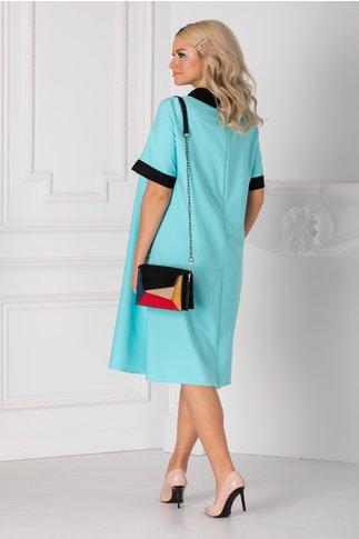 Rochie Chloe bleu cu guler negru si strasuri la bust