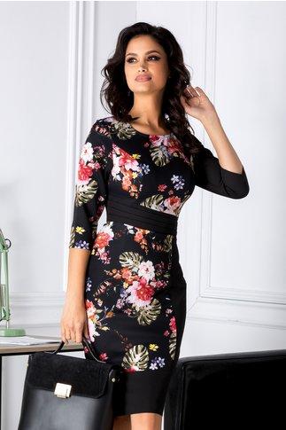 Rochie Chloe neagra conica cu imprimeuri florale
