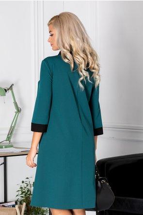 Rochie Chloe verde cu guler negru si strasuri la bust