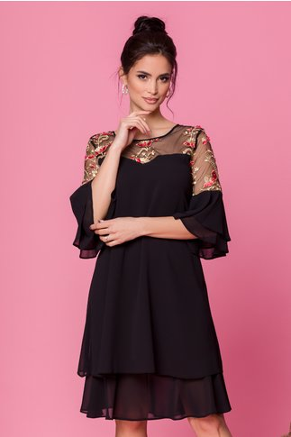Rochie Chrisa neagra cu broderie florala in nuante de auriu si corai la umeri