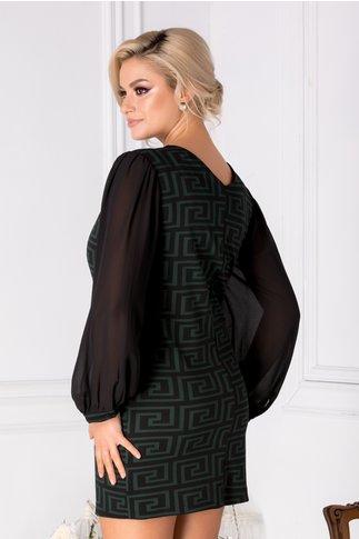 Rochie Chrisa verde cu imprimeu geometric