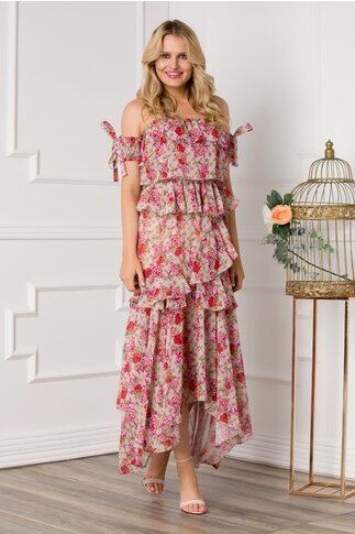 Rochie Chrissy bej cu volanase si imprimeuri florale rosii