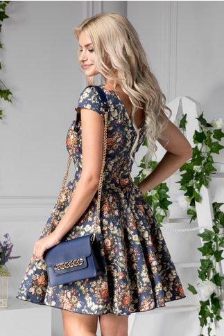 Rochie Chrissy bleumarin de zi cu imprimeu floral