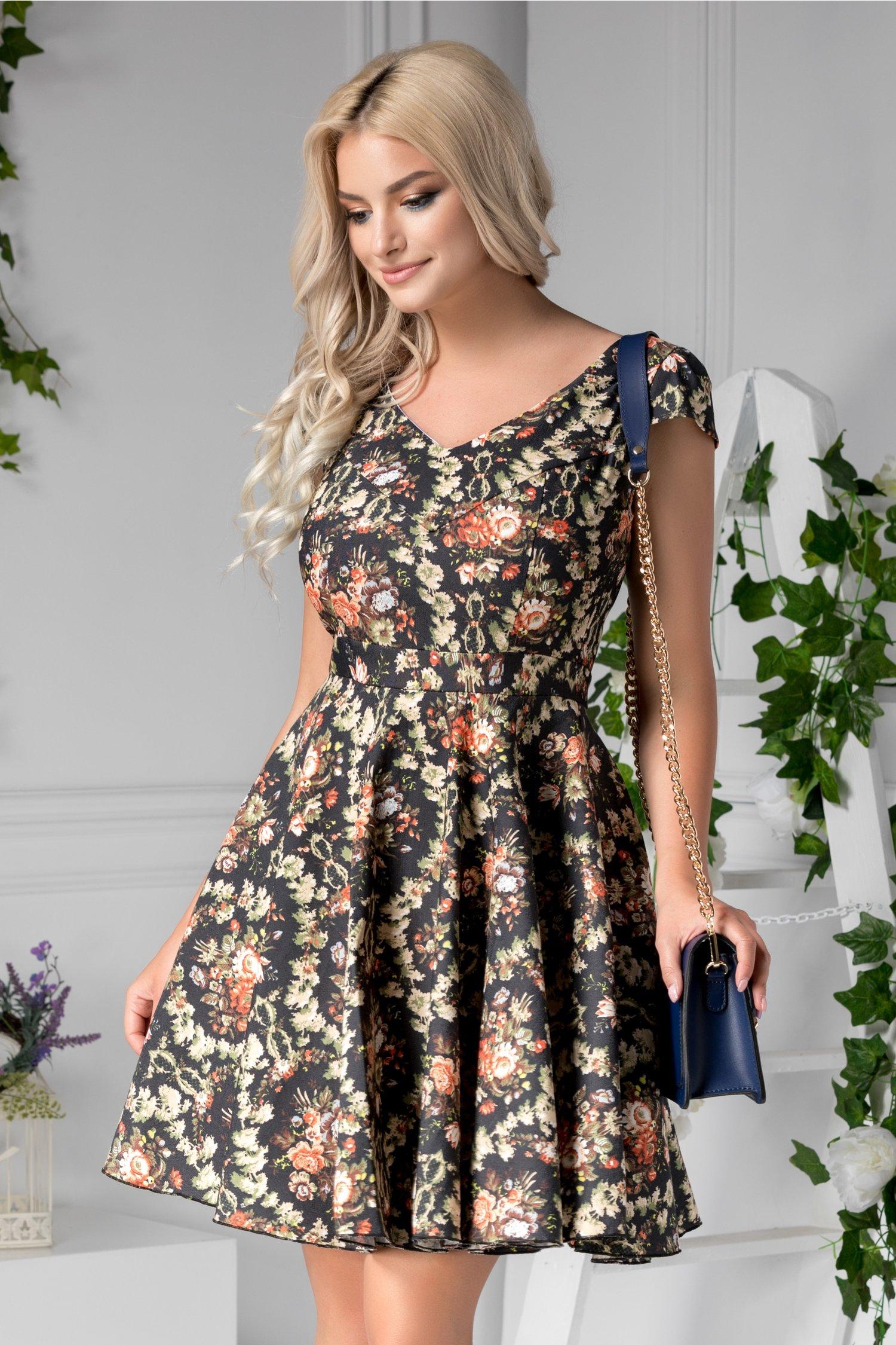 Rochie Chrissy neagra de zi cu imprimeu floral