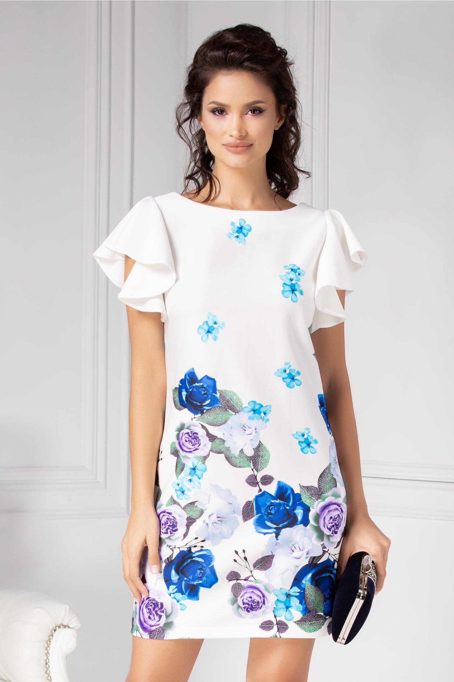 Rochie Cindy alba conica cu imprimeu floral albastru