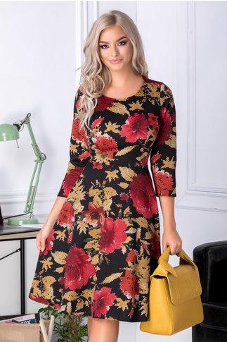Rochie Cindy neagra cu imprimeu floral stil mozaic