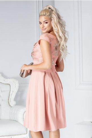 Rochie Claire de ocazie roz coniac cu broderie 3D la bust